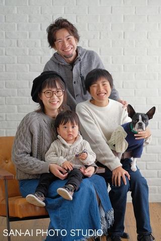 家族写真 愛犬フォト お揃いコーデ