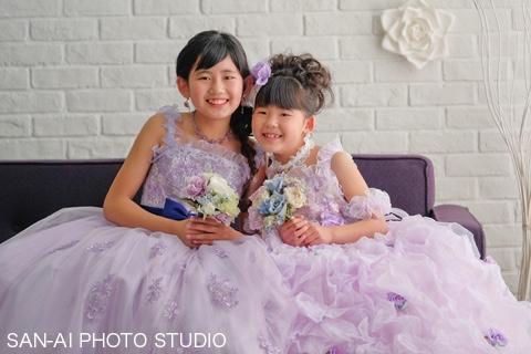 姉妹フォト 子供ドレス 二分の一成人